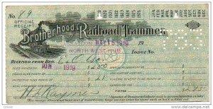 1919 Brotherhood of Railroad Trainmen official receipt order for secret work