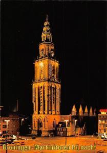 Netherlands Groningen martinitoren bij Nacht