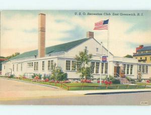 Unused Linen USO RECREATION CLUB East Greenwich Rhode Island RI HM9408@