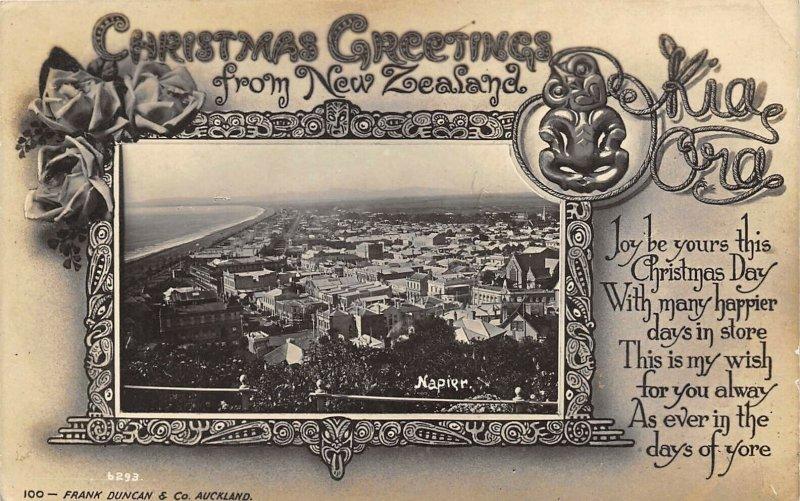 NEW ZEALAND c1910 RPPC Real Photo Christmas Greetings Postcard Auckland