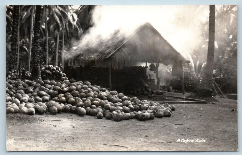 Postcard Philippines PI Copra Kiln Coconuts RPPC c1930s Photo L17