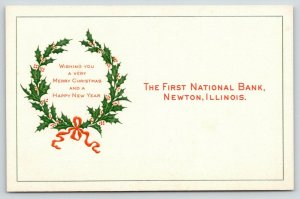 Newton IL~First National Bank~Holly Berry Wreath~Christmas & New Year~Embossed~