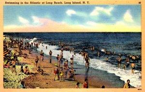Long Island, New York - Swimming in the Atlantic at Long Beach - c1940