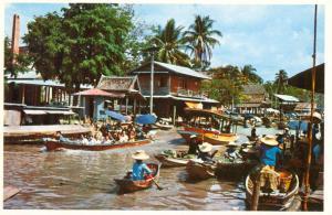 Thailand, Floating Market (Wat-Sai) near Bangkok, unused Postcard
