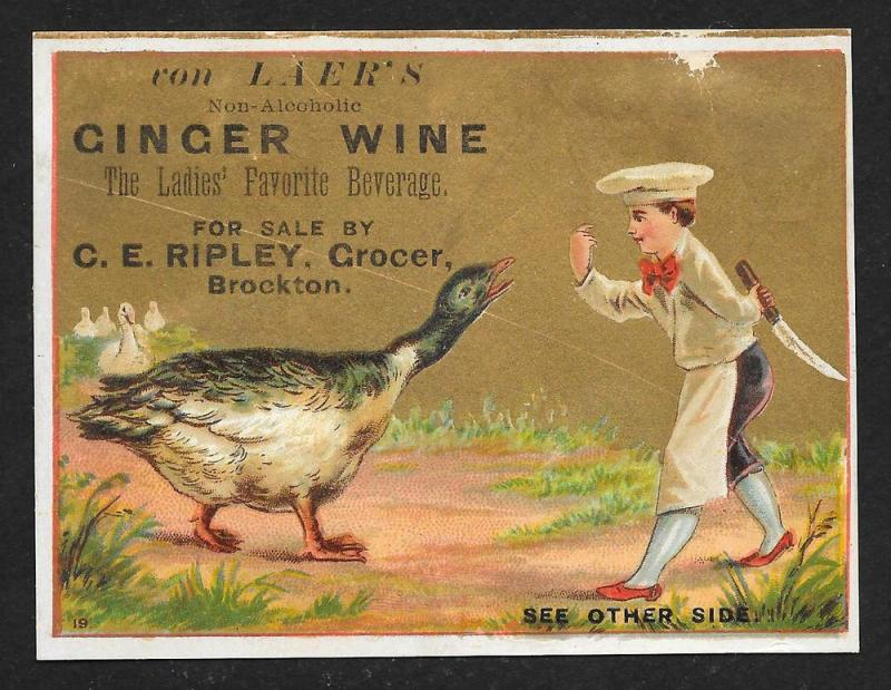 VICTORIAN TRADE CARD Von Laer's non-alcoholic Ginger Wine