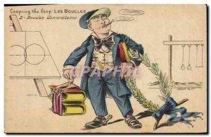 Old Postcard Fantasy Illustrator Loops university Earrings