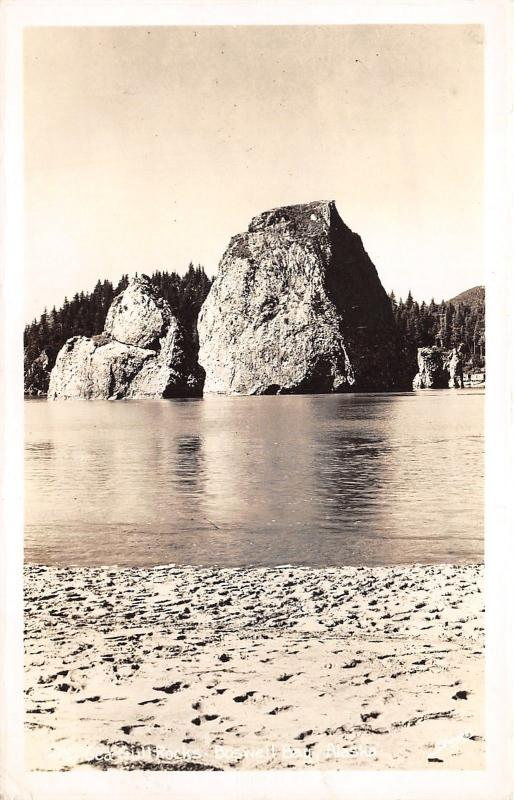 Boswell Bay Alaska~Sea Gull Rocks~1940s Sawyers RPPC Postcard