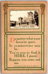 AURORA, Nebraska Postcard Congregational Church Add-On Real Photo 1913 Cancel