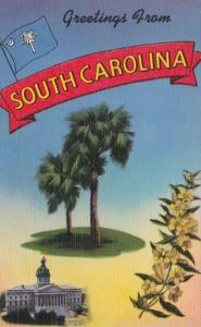 Greetings From South Carolina With State Tree Flower Flag and Capitol