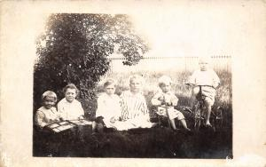 Real Photo Postcard~6 Children~Open Photo Album~Tricycle~Wheel Cart~c1912 RPPC
