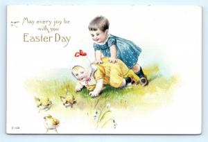 Postcard Easter Day Children Playing With Chicks 1918 I18