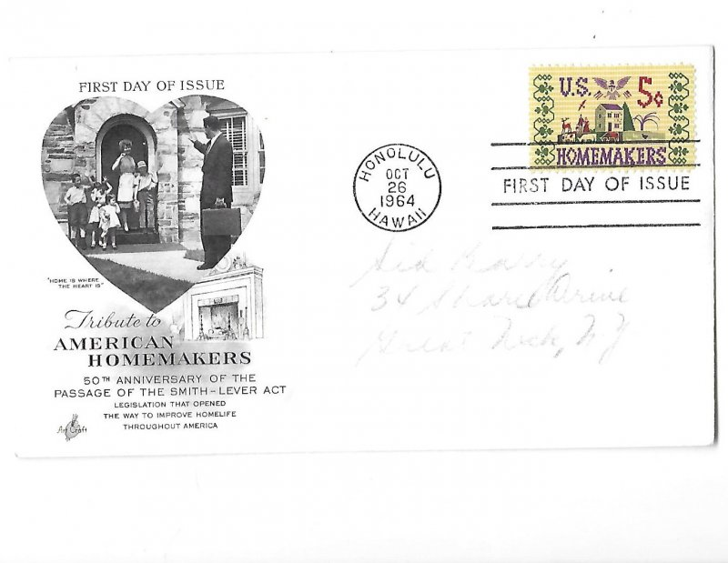 First Day Issue 10-26-1964 Five Cent Homemakers Stamp Honolulu Hawaii Stamp