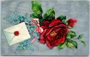 Vintage Birthday Greetings Postcard Silver Background / Red Rose - Dated 1909