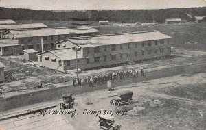 WWI, Troops Arriving, Camp Dix, New Jersey, Early Postcard, used in 1917