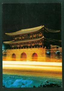 Night View of Kwanghwa Gate South Korea Vintage Korean Postcard