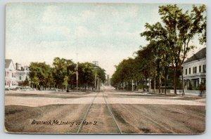 Brunswick Maine~Wide Main Street~Huge Victorian Homes~Trolley Tracks~c1905