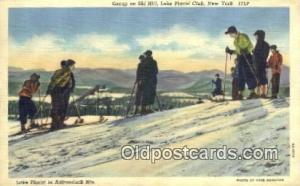 Linen, Ski Hill, Lake Placid, NY USA Skiing Postcard Post Card Old Vintage An...