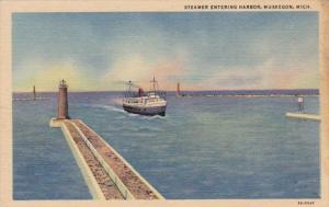 Michigan Muskegon Steamer Entering Harbor Curteich