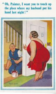 Fat Lady Wanting Painter To Paint Her Privates Comic Humour Postcard