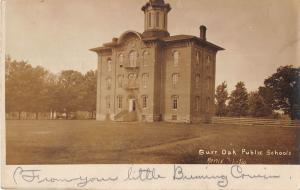 Buaroa Michigan Burr Oak Public Schools real photo postcard V5101