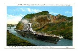 Panama - Canal Zone. Gaillard Cut, USS Aeroplane Carrier Saratoga