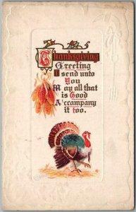 Vintage 1914 THANKSGIVING GREETING Embossed Postcard I Send Unto You Turkey