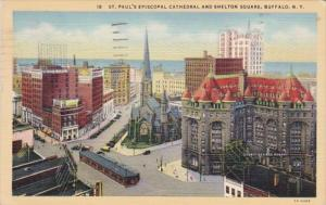 New York City St Paul's Episcopal Church and Shelton Square 1942 Curteich