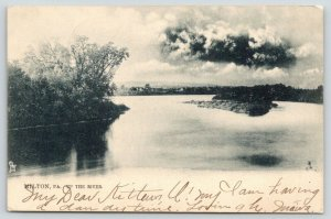 Milton PA~Dark Clouds Over Island Up the River ~West Branch~1907 B&W TUCK