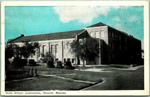 Russell, Kansas Postcard High School Auditorium Street View / 1941 Cancel