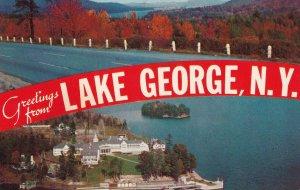 LAKE GEORGE, New York, 1940s to Present; Panoramic View Of Lake George