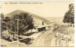 Norfolk CT Railroad Station Train Depot Signed DeMars RPPC Real Photo Postcard