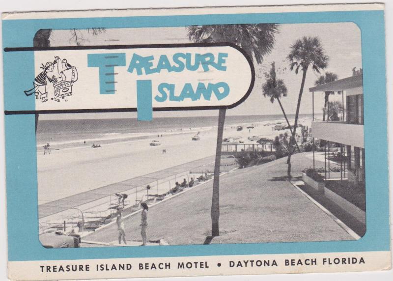 Daytona Beach Florida Pu 1963 Treasure Island Beach Motel Hippostcard