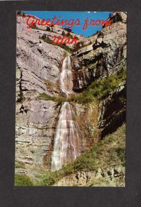 UT Greetings From Utah Bridal Veil Water Falls Heber Provo Utah Postcard