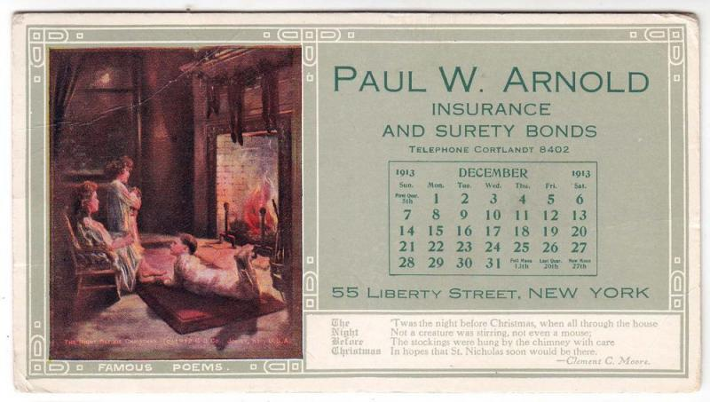 Paul W. Arnold Insurance, NY, Month of December 1913