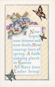 EASTER; Gold Cross, Butterflies, Pansies, Poem, 00-10s