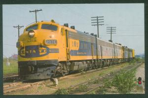 Yellow Bonnet SANTA FE F Units AT&SF Engine 287C Fort Worth TX Railroad Postcard