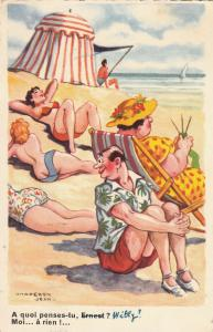 Seaside misoginism humour comic husband wife beach beauties Chaperon Jean signed
