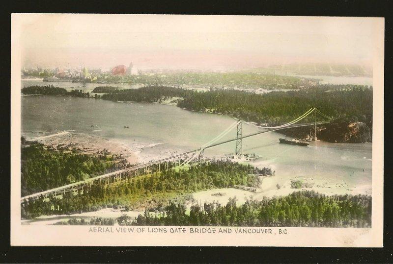 Aerial View of Lions Gate Bridge Vancouver BC Gowen Sutton Unposted Postcard