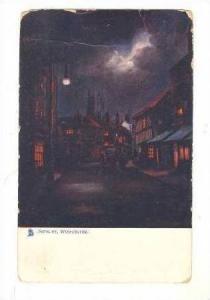Evening View, Street Lit Road, Castle Background, Sidbury, Worchester, Englan...