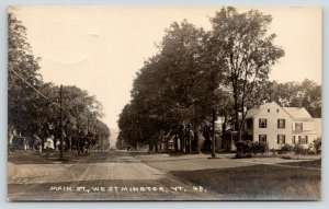 Westminster Vermont~Main Street Homes~Dirt Road Veers Off~c1925 RPPC