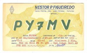 QSL radio Postcard, Paraiba, Brazil, 40-50s