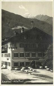 austria, MAYRHOFEN, Gasthof Alte Post (1934) RPPC Stamps