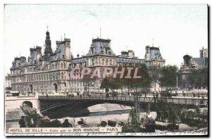 Old Postcard Hotel De Ville For Le Bon Marche Paris march flower