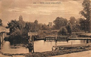 VIEW FROM STREATLEY BERKSHIRE ENGLAND~1909 PHOTO POSTCARD TRACTION ENGINES SIGN