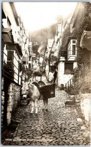 CLOVELLY Devon England UK Real Photo RPPC Postcard HIGH STREET Donkey Unused