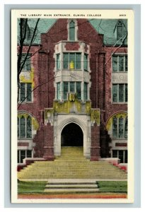 The Library Main Entrance, Elmira College NY c1945 Chrome Postcard K28