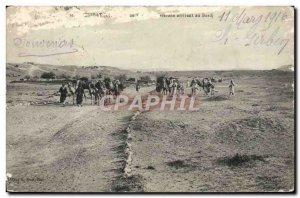 Old Postcard Tunisia Camels caravan arriving at Bordj