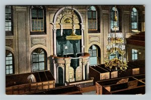 Boston MA-Massachusetts, Interior Of Old South Church, Vintage Postcard