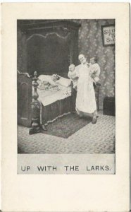 Wife Sleeps While Husband Is Up With Babies Up With The Larks Old World Humor
