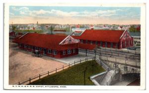 1917 New York, New Haven & Hartford Railroad Depot, Attleboro, MA Postcard